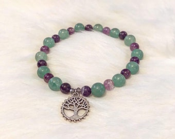 amethyst and Prehnite tree of life charm bracelet | 7.5 inches | healing jewelry