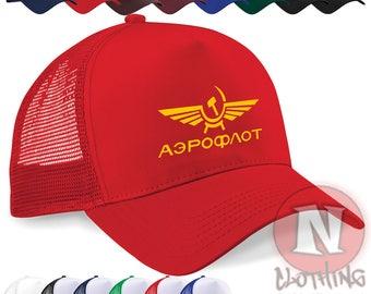 Aeroflot Russian airline retro style cap Half mesh retro trucker baseball  hat. Various colours. Snapback adjuster. Printed design. 311a24c00df