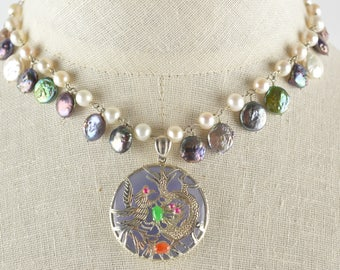 Charmed Pearl Necklace with Purple Jade Dragon Pendant
