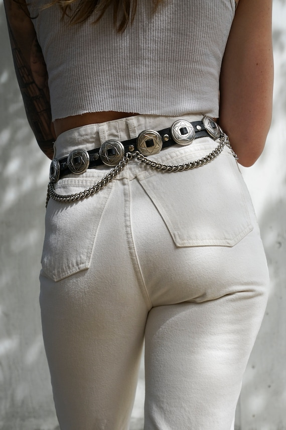 Southwest Gypsy Silver and Black Leather Belt Bike