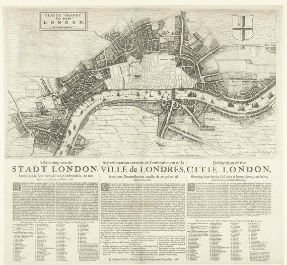 Great Fire Of London Map.Map Of London After The Great Fire Of 1666 Showing Extent Of Etsy