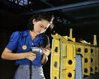 Aircraft factory worker 1943 reproduction of vintage photograph by Alfred T Palmer