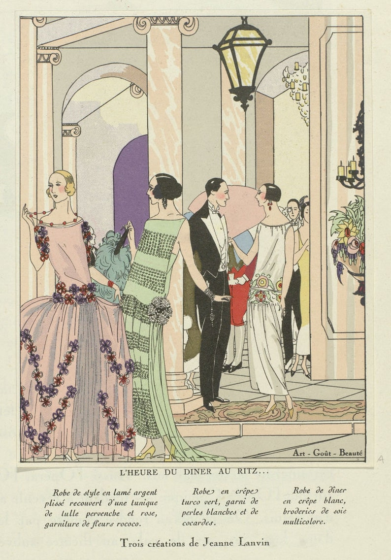 9a4a0a9f1d Dinner at the Ritz reproduction of fashion plate from