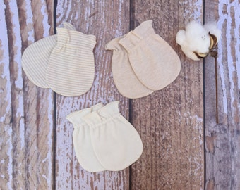 Organic Baby Gloves, Set of 3 Organic Cotton Mittens, Anti Scratch Baby Mittens, 3 Pack, Natural Cotton, Natural Colors, Stretchable