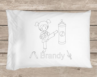 COLOR ME Karate GIRL Personalized Pillowcase, Karate party favor, Karate pillow, custom bedding, bed pillow, karate gift