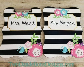 Personalized Clipboard Black & White Floral. teacher gift, personalized office, monogrammed gift, office supplies, double sided clipboard