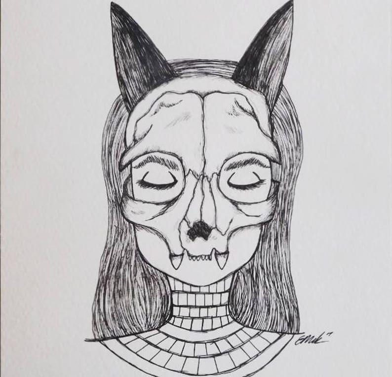 Bastet - illustration, goddess of protection, cats, family, joy, music and  dance  Ancient Egyptian goddess  Cat skull mask, 10x15cm print