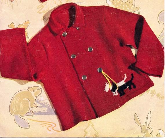 "Baby Childrens 4 Ply  Cardigans Bunny// Scottie Dog Motif  20-26/""  To Knit"
