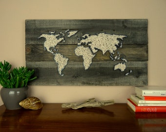 World Map | String Art | Gift for Couple | Reclaimed Wood | Wedding Gift | Shabby Chic Decor | Map Art | Travel Gift | Housewarming Gift