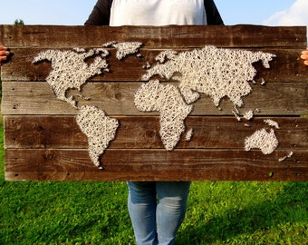 World Map | String Art | World Map Decal | Large World Map | Travel Map | Wood Wall Art | Rustic Home Decor | Reclaimed Wood | Fireplace