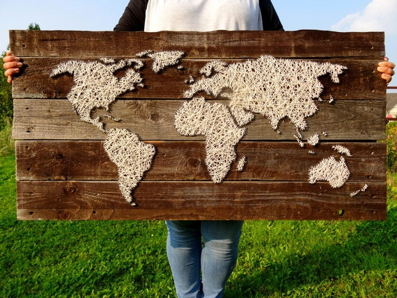 World Map | String Art | World Map Decal | Wooden World Map | Travel Map |  Wood Wall Art | Rustic Home Decor | Reclaimed Wood | Fireplace