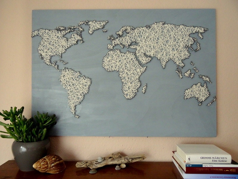 World map string art office decor travel gift world etsy zoom gumiabroncs Gallery