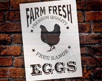 Farm Fresh Eggs, Chicken Stencil by StudioR12 | Reusable Mylar Template -Paint - Wood Signs, Wall Decor, Modern Farmhouse - SELECT SIZE