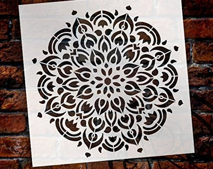 Featured listing image: Mandala - Peacock - Complete Stencil by StudioR12   Reusable Mylar Template   Use to Paint Wood Signs - Pallets - Pillows - Wall Art -...