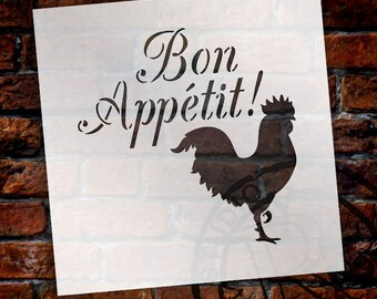 Bon Appetit - Rooster - Word Art Stencil - Select Size - STCL1990 - by StudioR12