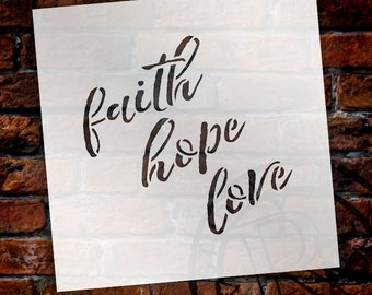 Faith, Hope, Love - Trendy Script - Word Stencil - Select Size _ by StudioR12