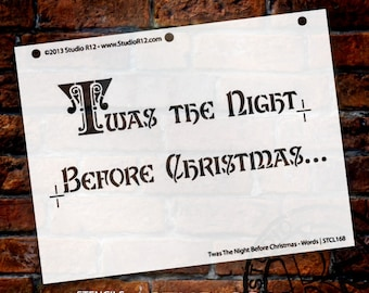 "Twas the Night Before Christmas-Word Stencil-7 5/8"" X 10""-SKU: STCL168"