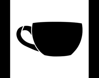 Short Coffee Cup Art Stencil - Select Size - STCL832 by StudioR12