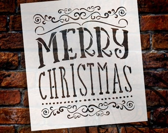 Merry Christmas - Whimsical Swirls - Word Art Stencil- Select Size - STCL1413 by StudioR12