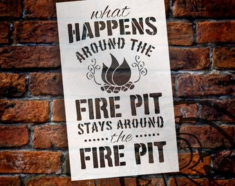 Fire Pit - Word Art Stencil - Select Size - STCL1891 - by StudioR12