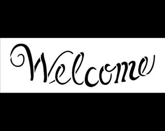 """Welcome - Elegant Curved - 6"""" x 2"""" By StudioR12"""