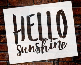 Hello Sunshine - Hand Brushed Script - Word Stencil - Select Size - STCL1879 - by StudioR12