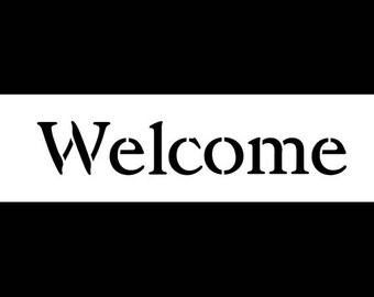 Welcome - Vintage Serif - Horizontal - Word Stencil - Select Size - STCL1198 by StudioR12