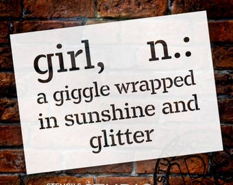 Girl - Wrapped In Sunshine - Word Stencil - Select Size - STCL2169 - by StudioR12