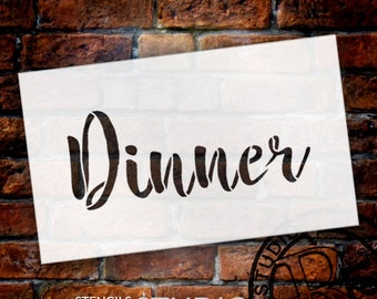 Wedding Sign Stencil - Dinner - Rustic Script - Select Size- STCL1618 - by StudioR12