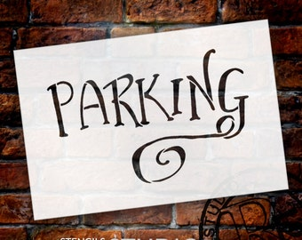 Wedding Sign Stencil - Parking - Fancy Funky - Select Size- STCL1630 - by StudioR12
