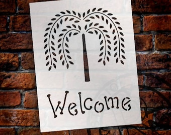 Willow Tree Welcome - Word Art Stencil - Select Size - STCL1206 by StudioR12