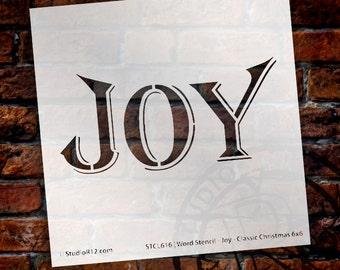 "Word Stencil - Joy - Classic Christmas Card - 6"" x 6"" - STCL616 by StudioR12"