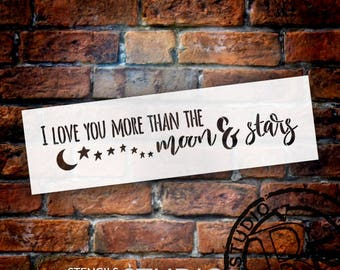 Moon and Stars - Word Art Stencil - Select Size - STCL1899 - by StudioR12