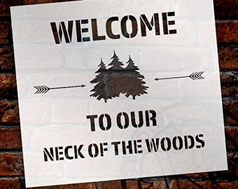 Welcome to Our Neck of The Woods - Trees & Arrows Stencil by StudioR12 | Reusable Mylar Template | Use to Paint Wood Signs | DIY Country...