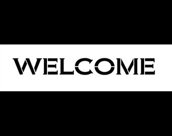 """Welcome - Word Stencil - Bold Engraved - 11"""" x 3"""" - STCL858 - by StudioR12"""