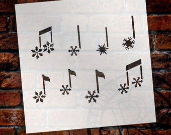 Snowflake Music Notes Stencil by StudioR12 - Reusable, Christmas, Holiday, DIY Crafts, Painting, Art, Mixed Media, Chalk-SELECT SIZE-STCL867