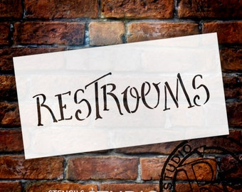 Wedding Sign Stencil - Restrooms - Fancy Funky - Select Size- STCL1633 - by StudioR12