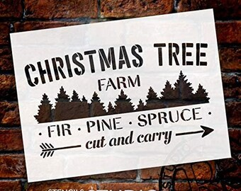 Christmas Tree Farm - Fir Pine Spruce Stencil - by StudioR12 | Reusable Mylar Template | Use to Paint Wood Signs - Pallets - DIY...