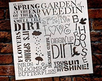 Spring Love Stencil by StudioR12 | Fun Background Word Art - Reusable Mylar Template | Painting, Chalk, Mixed Media | Use for Wall Art,...