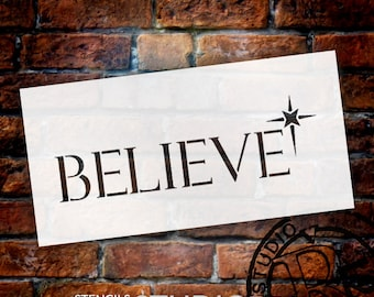 Believe - Traditional with Star - Word Art Stencil - Select Size - STCL1346 - by StudioR12