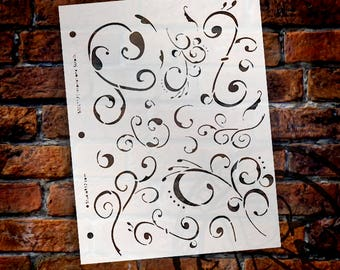 "Inspirational Scrolls Stencil -8 1/2"" X 11""- STCL117- By StudioR12"