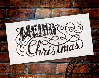 Elegant Merry Christmas Word Stencil - Select Size - STCL1403 - by StudioR12