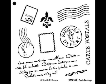 Paris Postage Stencil - Choose Your Size - STCL367 - by StudioR12