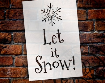 """Let It Snow with Snowflake Word Art - 8"""" X 12"""" - STCL1016 - by StudioR12"""