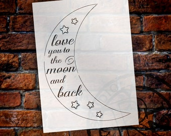 Moon and Back - Casual Script - Word Art Stencil - Select Size - STCL1841 - by StudioR12