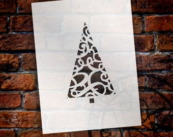 Christmas Shapes Stencil - Swirly Pattern Tree - Select Size - STCL1556 - by StudioR12