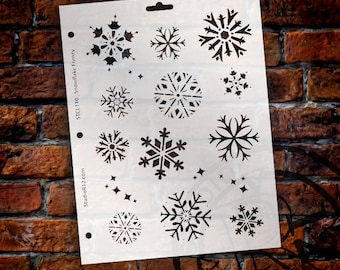 """Frenzy Snowflake Stencil by StudioR12 - Reuable, Christmas, Holiday, Santa, Painting, Journaling, Window, Mixed Media, 8 1/2"""" X 11""""-STCL110"""