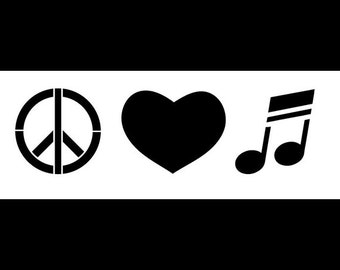 Peace, Love & Music - Art Stencil - Select Size  - STCL1163 - by StudioR12