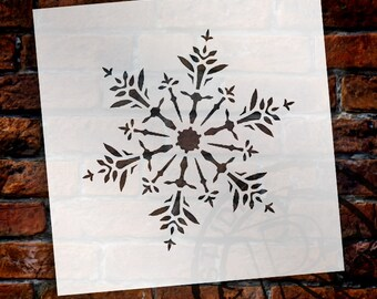 Glittering Snowflake Stencil by StudioR12 - Christmas, Holiday, Santa, Winter, Painting, Window, Mixed Media, Chalk- SELECT SIZE -STCL1564