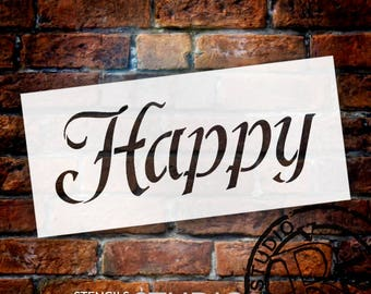Happy - Fun Style  - Word Stencil - Select Size - STCL2155 - by StudioR12